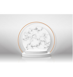 White 3d podium with marble texture and golden vector