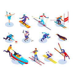 Winter sports isometric icons set vector