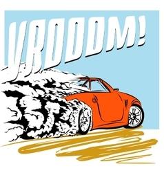 car comics speeding across the road vector image
