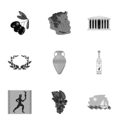 Greece set icons in monochrome style Big vector image vector image