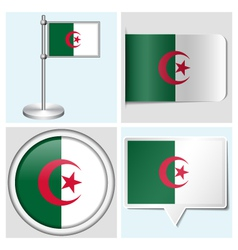 Algeria flag - sticker button label flagstaff vector image vector image