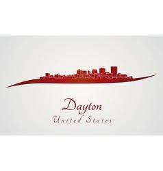 Dayton skyline in red vector image vector image