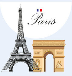 eiffel tower and triumphal arch vector image vector image
