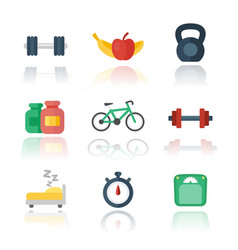 fitness gym flat icons over white vector image vector image