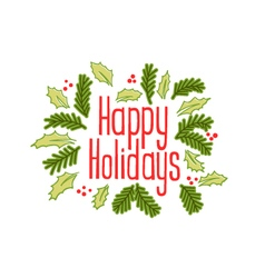 Happy Holidays vintage greeting card vector image vector image