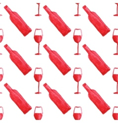 Seamless watercolor pattern with wine bottle and vector image