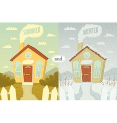 Summer and winter vector image