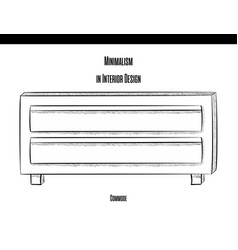 chest of drawers with two drawers in a contour on vector image