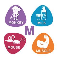 cute alphabet in m letter for monkey milk vector image