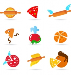 food and kitchen icons pizza set vector image