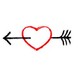 red heart pierced black arrow vector image vector image