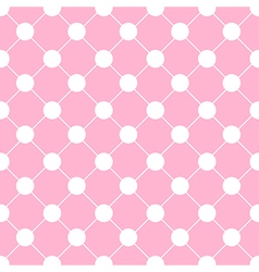White Polka dot Chess Board Grid Pink vector image vector image
