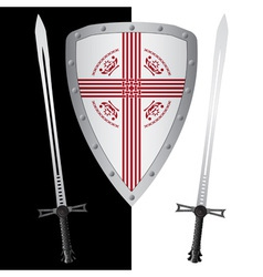 fantasy shield and swordsfirst variant vector image vector image