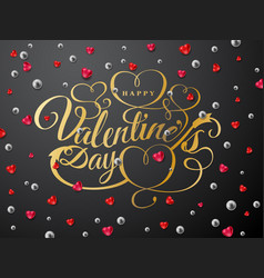 happy valentines day greeting card gold font vector image vector image