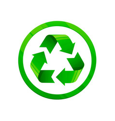 recycle green icon round shape symbol eco green vector image
