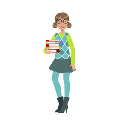 smiling young student girl holding stack of books vector image vector image
