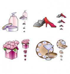 woman stuff icons vector image vector image