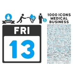 13 Friday Calendar Page Icon With 1000 Medical vector