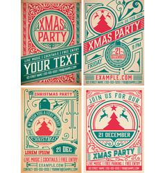 4 retro christmas party invitations holidays vector image