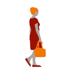 A girl in a red dress and orange shoes with a bag vector