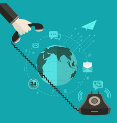 a hand pick up a phone with world background vector image