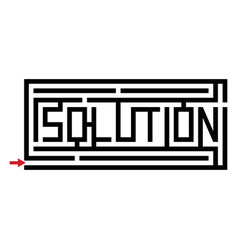 A maze with the word solution vector