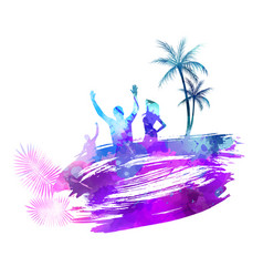 abstract painted splash shape with silhouettes vector image
