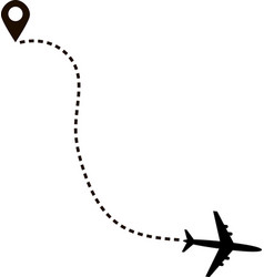 airplane route in dotted line shape vector image