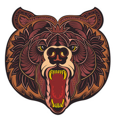 angry bear head vector image