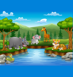 Animals cartoon are enjoying nature by the river vector