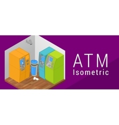 ATM isometric flat 3d vector image