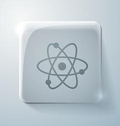 Atom molecule Glass square icon vector