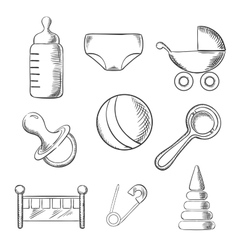 Baby and childhood sketched icons vector