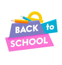 back to school banner with colorful title vector image