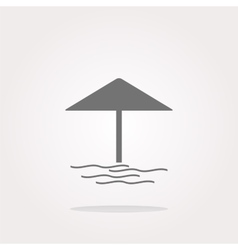 Beach umbrella on web icon button isolated vector