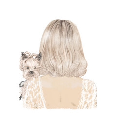 beautiful blonde girl with her dog yorkie hand vector image