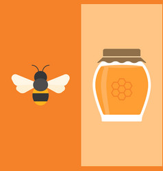 bee and honey jar icon flat design vector image