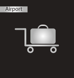 Black and white style icon suitcase on trolley vector