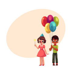 Black boy with balloons and caucasian girl in vector