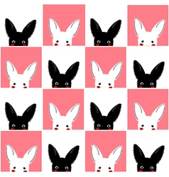 Black White Rabbit Chess board Background vector