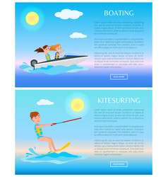 Boating and kitesurfing sea rest water sports vector