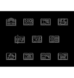 Book genres shop white line icons set vector