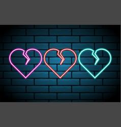 broken heart neon sign decoration element vintage vector image