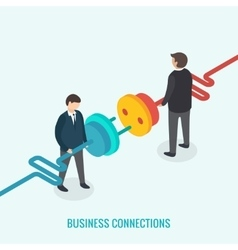 Business connection concept Isometric 3d vector