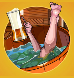 cartoon man with a beer in hand dives vector image