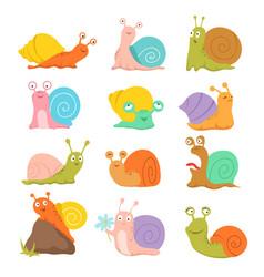 Cartoon snail cute slug mollusk with shell vector