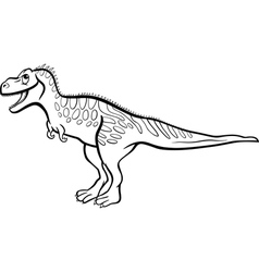 Cartoon tarbosaurus dinosaur for coloring book vector