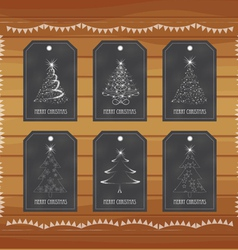 Chalkboard gift tags hand drawn vintage vector image