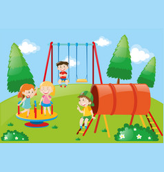 Children playing in playground at daytime vector