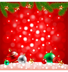christmas balls in snow on red background vector image